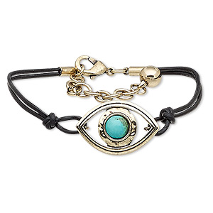 bracelet, 2-strand, magnesite (dyed / stabilized) / leather (dyed) / antique gold-finished steel / pewter (zinc-based alloy), black and turquoise blue, 30x20mm marquise, 7 inches with 2-inch extender chain and lobster claw clasp. sold individually.