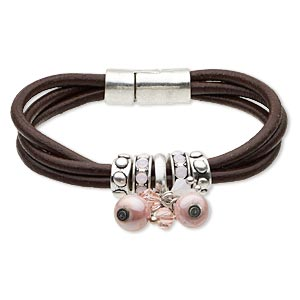 bracelet, 3-strand, leather (dyed) / glass rhinestone / antiqued silver-finished pewter (zinc-based alloy), brown and pink, 11mm wide, 7-1/2 inches with magnetic clasp. sold individually.