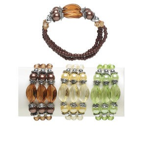 bracelet, 3-strand stretch, acrylic / glass / antique silver-coated acrylic / imitation rhodium-plated steel, assorted colors, 9mm round and 20x13mm faceted oval, 7 inches. sold per pkg of 3.