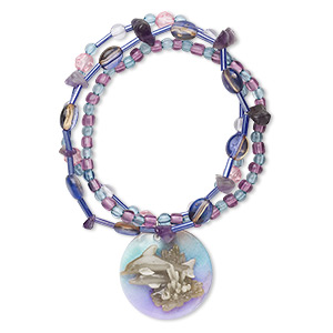 bracelet, 3-strand stretch, mussel shell (coated) / amethyst (natural) / acrylic, purple and multicolored, 30mm round with painted dolphin design, 6-1/2 inches. sold individually.