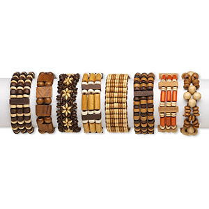 bracelet, 3-strand stretch, wood (natural / dyed), assorted colors, assorted size and shape, 7 inches. sold per pkg of 8.