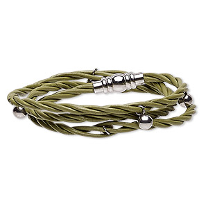 bracelet, 3-strand wrap, leather (dyed) and stainless steel, green, 10mm wide twisted with 6mm round, 6 inches with magnetic clasp. sold individually.