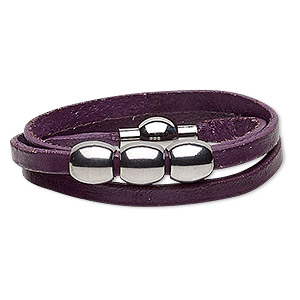 bracelet, 3-strand wrap, leather (dyed) and stainless steel, purple, 10mm wide with 10mm barrel, 6 inches with magnetic clasp. sold individually.