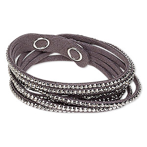 bracelet, 4-strand wrap, acrylic rhinestone / faux suede / imitation rhodium-plated brass, grey and metallic silver, 13mm wide, adjustable at 6 and 7 inches with snap closure. sold individually.