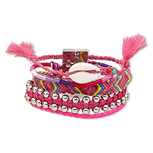 bracelet, 5-strand, cowrie shell (natural) / nylon / polyurethane / silver-coated plastic / silver-plated pewter (zinc-based alloy), pink and multicolored, 37mm wide, 6-1/2 inches with magnetic locking clasp. sold individually.