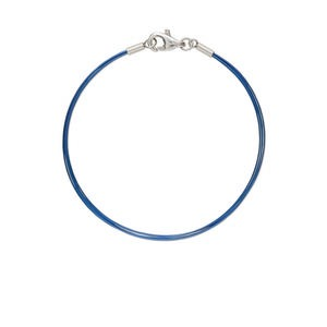 bracelet, 5-strand, stainless steel and plastic-coated stainless steel, blue, 6 inches with lobster claw clasp. sold individually.