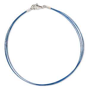 bracelet, 5-strand, stainless steel and plastic-coated stainless steel wire, blue, 2mm wide, 8 inches with lobster claw clasp. sold individually.