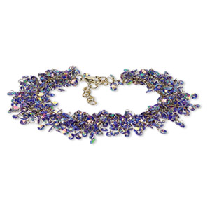 bracelet, acrylic sequin with gold-finished brass and steel, amethyst purple ab, 20mm wide with 4mm round, 7-1/2 inches with 1-1/2 inch extender chain and lobster claw clasp. sold individually.