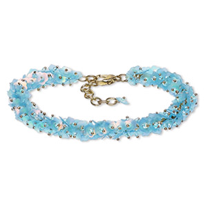 bracelet, acrylic sequin with gold-finished brass and steel, turquoise blue ab, 12mm wide with 6mm flower, 7 inches with 1-1/2 inch extender chain and lobster claw clasp. sold individually.
