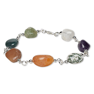 bracelet, agate (natural / dyed) with silver-plated brass and steel, multicolored, small to medium hand-cut nugget, 7-1/2 inches with lobster claw clasp. sold individually.