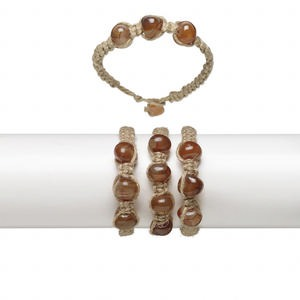 bracelet, agate (natural) / hemp / resin, brown and orange, small pebble with woven design, 6-1/2 inches with button clasp. sold per pkg of 3.