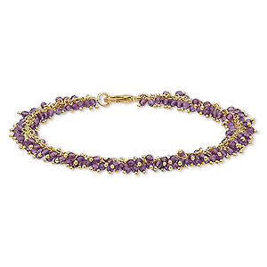 bracelet, amethyst (natural) and gold-finished brass, 8mm wide with 2mm faceted round, 7-1/2 inches with lobster claw clasp. sold individually.