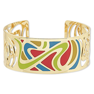 bracelet, avant-garde jewelry collection™, cuff, enamel and gold-plated brass, multicolored, 30mm wide with cutout and swirl design, adjustable from 7-8 inches. sold individually.