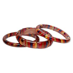 bracelet, bangle, acrylic, multicolored with silver-colored foil, 8mm and 16mm wide with stripes, 8 inches. sold per 3-piece set.