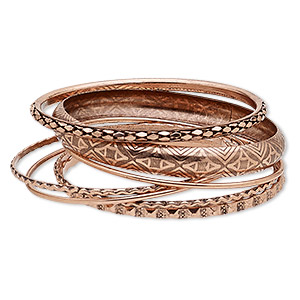 bracelet, bangle, antique copper-finished steel, 2-10mm wide, 8 to 8-1/2 inches. sold per 7-piece set.