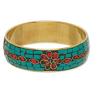 bracelet, bangle, brass and resin, red / turquoise green / black, 22mm wide with flower design, 8 inches. sold individually.