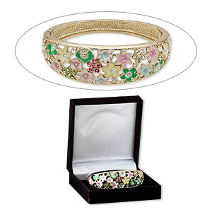 bracelet, bangle, enamel / czech glass rhinestone / gold-finished pewter (zinc-based alloy), multicolored, 22mm wide with flowers, 7 inches with hinged tab clasp. sold individually.