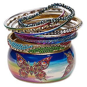 bracelet, bangle, enamel / glass / glass rhinestone / resin / gold-finished steel / aluminum / brass, assorted colors with glitter, 2.5-37mm wide, 7-8mm inches. sold per 12-piece set.