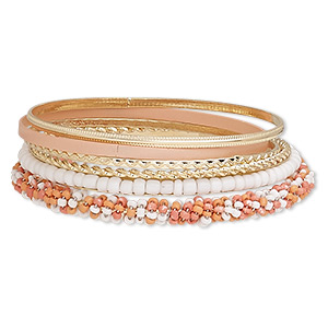 bracelet, bangle, enamel / glass / gold-finished steel, pink / peach / white, 2-7mm wide, 8 inches. sold per 6-piece set.