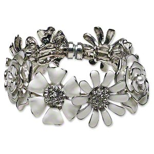 bracelet, bangle, enamel / glass rhinestone / acrylic / silver-plated steel / pewter (tin-based alloy), white and clear, 31x31mm flower, 7-1/2 inches with magnetic clasp. sold individually.