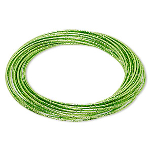 bracelet, bangle, enameled steel, fluorescent green, (26-30) 1mm wide interlocking textured bands, 8 inches. sold individually.