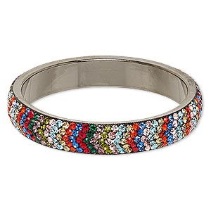 bracelet, bangle, epoxy / preciosa glass rhinestone / gunmetal-plated brass, multicolored, 15mm wide with chevron design, 2-3/4 inch inside diameter. sold individually.