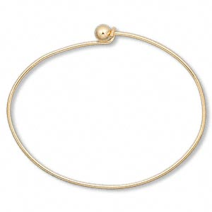 bracelet, bangle, gold-plated brass, 1.5mm wide oval with 5.5mm twist-off bead end, 7 inches. sold individually.