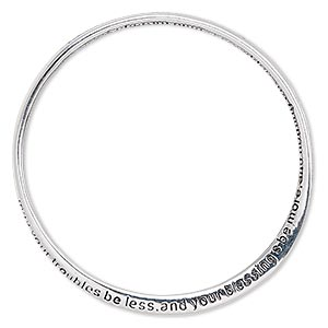 bracelet, bangle, silver-plated pewter (zinc-based alloy), 6mm wide twisted band with may your troubles be less and your blessings be more and nothing but happiness come through your door! 8-1/2 inches. sold individually.