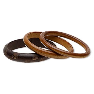 bracelet, bangle, stained wood, dark and light brown, 8-15mm wide with etched butterfly design, 7-1/2 inches. sold per pkg of 3.