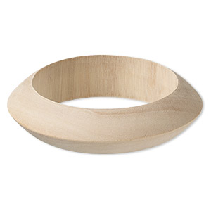 bracelet, bangle, wood (natural), 22mm wide with wide point, 8-1/2 inches. sold individually.
