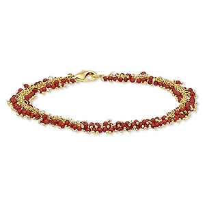 bracelet, carnelian (dyed / heated) and gold-finished brass, 8mm wide with 2mm faceted round, 7-1/2 inches with lobster claw clasp. sold individually.