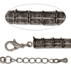 bracelet component, antique silver-finished brass and steel, 6mm wide cupchain with (25) ss29 rivoli settings, 7 inches with 1-inch extender chain and lobster claw clasp. sold individually.