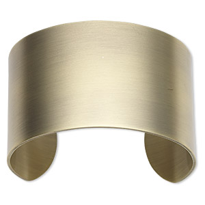 bracelet component, cuff, antique gold-plated steel, 1-1/2 inches wide, 6-1/2 inches. sold individually.