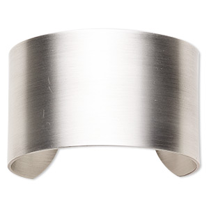 bracelet component, cuff, antique silver-plated steel, 1-1/2 inch wide, 6-1/2 inches. sold individually.