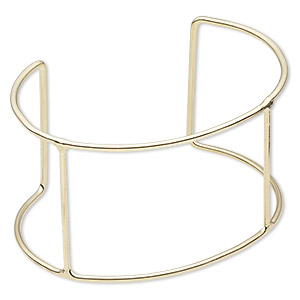 bracelet component, cuff, gold-finished steel, 42mm wide with 4 bars, 6-1/2 to 7-1/2 inches. sold per pkg of 2.