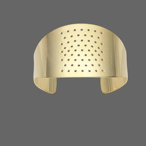 bracelet component, cuff, gold-plated brass, 1-1/2 inches wide with 59 holes, adjustable from 7-1/2 to 8 inches. sold individually.