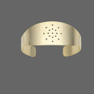 bracelet component, cuff, gold-plated brass, 1-inch wide with 17 holes, adjustable from 7-8 inches. sold individually.