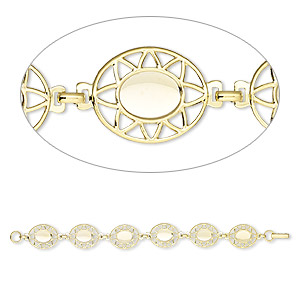 bracelet component, gold-plated brass, 20x17 fancy oval with (6) 10x8mm oval settings, 7 inches with fold-over clasp. sold per pkg of 10.