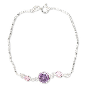 bracelet, cubic zirconia and sterling silver, pink and dark amethyst purple, 5mm and 8mm faceted round, 7 inches with springring clasp. sold individually.