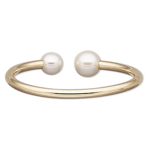 bracelet, cuff, acrylic pearl and gold-finished brass, white, 14mm wide with 14mm round, adjustable from 6-7 inches. sold individually.
