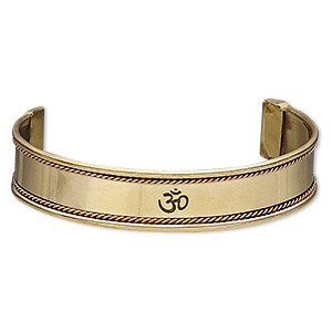bracelet, cuff, antiqued copper and brass, 16mm wide with twisted wire and etched om symbol, 8 inches. sold individually.