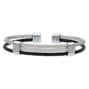 bracelet, cuff, black- and silver-plated stainless steel, 12mm wide 3-row cable band, adjustable from 7-1/2 to 8 inches. sold individually.