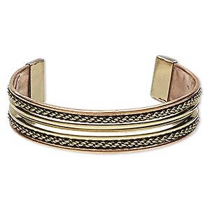 bracelet, cuff, brass / copper / steel, 16mm wide with chain link design, adjustable from 7-8 inches. sold individually.