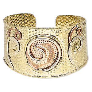 bracelet, cuff, copper-plated and gold-finished brass, 40mm wide with hammered and spiral design, adjustable from 7-1/2 to 8-1/2 inches. sold individually.