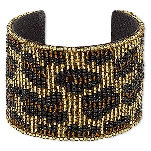 bracelet, cuff, cotton / glass / steel, black / brown / gold, 52mm wide with cheetah print, adjustable from 6 to 6-1/2 inches. sold individually.