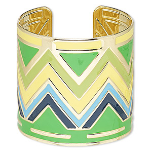bracelet, cuff, enamel and gold-finished steel, multicolored, 60mm wide with zigzag design, adjustable from 6-1/2 to 7 inches. sold individually.