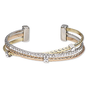 bracelet, cuff, glass rhinestone / gold-finished / silver- / copper-plated brass / pewter (zinc-based alloy), clear, 13mm wide, adjustable from 6 to 6-1/2 inches. sold individually.