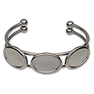 bracelet, cuff, gunmetal-plated brass and pewter (zinc-based alloy), 18mm wide with (3) 18x13mm oval settings, adjustable. sold individually.