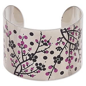 bracelet, cuff, imitation rhodium-finished carbon steel, black and pink, 46mm wide with cherry blossom design, adjustable from 7-8 inches. sold individually.