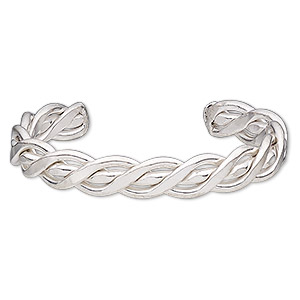 bracelet, cuff, silver-finished brass, 12mm wide with braided design, 8 inches. sold individually.